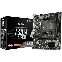 Matična ploča MSI Main Board Desktop A320 (SAM4, 2xDDR4, PCI-Ex16, PCI-Ex1, USB3.2, USB2.0, SATA III, HDMI, DVI-D, GLAN) mATX Retail