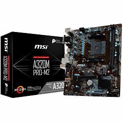 Matična ploča MSI Main Board Desktop A320 (SAM4, 2xDDR4, PCI-Ex16, 2xPCI-Ex1, USB3.1, USB2.0, SATA III, VGA, DVI-D, GLAN) mATX Retail