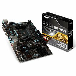Matična ploča MSI A320M PRO-VD/S (SAM4, 2xDDR4, PCI-Ex16, 2xPCI-Ex1, 6xUSB3.1, 6xUSB2.0, 4xSATA III, Raid, VGA, DVI-D, GLAN) mATX Retail