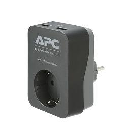 APC Ess SurgeArrest 1 Outlet 2 USB Port Black 230V