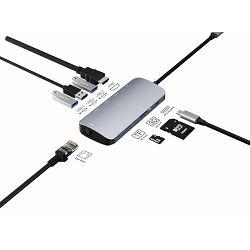 Asonic USB Tip C na HDMI,LAN, U3.0/Tip C, SD čitač