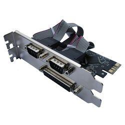 Asonic PCIE 2x ser. (RS232), 1x paralel port, + LP