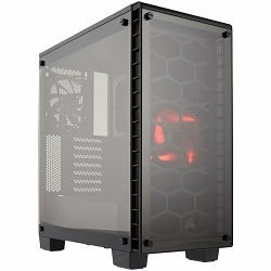 Kućište Corsair Crystal Series 460X Compact ATX Mid-Tower Case, 1x AF140L red LED and 1x AF120L fan included