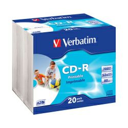 CD-R Verbatim 700MB 52× DataLife+ Wide PRINTABLE 20 pack Slimcase