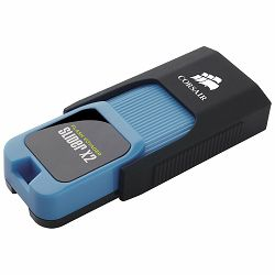 Corsair USB drive Flash Voyager Slider X2 USB 3.0 128GB, Blue Housing, Read 200MBs - Write 90MBs, Capless Design, Plug and Play, EAN:0843591057059