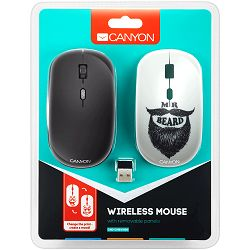 Canyon wireless Optical  Mouse with 4 buttons, DPI 800/1200/1600, 1 additional cover(Beard), black