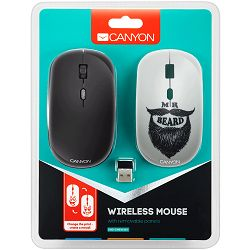 CANYON 2.4GHz wireless Optical Mouse with 4 buttons, DPI 800/1200/1600, 1 additional cover(Beard), black, 103*58*32mm, 0.087kg