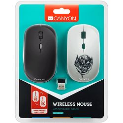 CANYON 2.4GHz wireless Optical Mouse with 4 buttons, DPI 800/1200/1600, 1 additional cover(Metallica), black, 103*58*32mm, 0.087kg