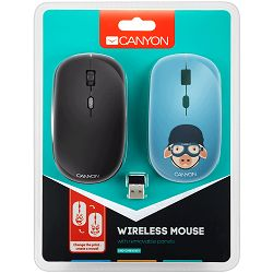 CANYON 2.4GHz wireless Optical Mouse with 4 buttons, DPI 800/1200/1600, 1 additional cover(Military Pig), black, 103*58*32mm, 0.087kg