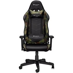 Stolica Gaming PU leather, Original foam and Cold molded foam, Metal Frame, Butterfly mechanism, 90-165 dgree, 3D armrest, Class 4 gas lift, Nylon 5 Stars Base, 60mm PU caster, Black+camouflage