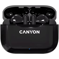 Canyon TWS-3 Bluetooth headset, with microphone, BT V5.0, Bluetrum5736A, battery EarBud 40mAh*2+Charging Case 300mAh, cable length 0.3m, 62*22*46mm, 0.046kg, Black