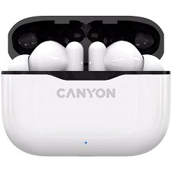 Canyon TWS-3 Bluetooth headset, with microphone, BT V5.0, Bluetrum5736A, battery EarBud 40mAh*2+Charging Case 300mAh, cable length 0.3m, 62*22*46mm, 0.046kg, White