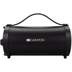 Canyon Bluetooth Speaker, BT V4.2, Jieli AC6905A, TF card support, 3.5mm AUX, micro-USB port, 1500mAh polymer battery, Black, cable length 0.6m, 242*118*118mm, 0.834kg