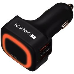 CANYON Universal  4xUSB car adapter, Input 12V-24V, Output 5V-4.8A, with Smart IC, black  rubber coating + orange LED