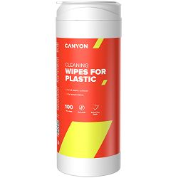 Canyon Plastic Cleaning Wipes, Non-woven wipes impregnated with a special cleaning composition, with antistatic and disinfectant effects, 100 wipes, 80x80x186mm, 0.258kg