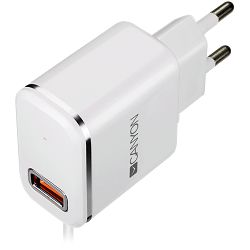 CANYON Universal 1xUSB AC charger (in wall) with over-voltage protection,  plus lightning USB connector, Input 100V-240V, Output 5V-2.1A, with Smart IC, white(silver electroplated stripe), cable lengt