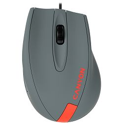 Wired Optical Mouse with 3 keys, DPI  1000 With 1.5M USB cable,Gray-Red,size 68*110*38mm,weight:0.072kg