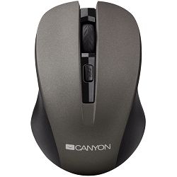 Miš CANYON CNE-CMSW1(Wireless, Optical 800/1000/1200 dpi, 4 btn, USB, power saving button), Graphite