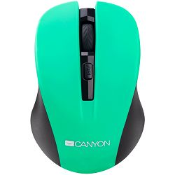 Miš CANYON CNE-CMSW1(Wireless, Optical 800/1000/1200 dpi, 4 btn, USB, power saving button), Green