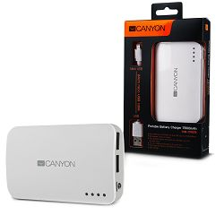 CANYON CNE-CPB78W White color portable battery charger with 7800mAh, micro USB input 5V/1A and USB output 5V/1A(max.)