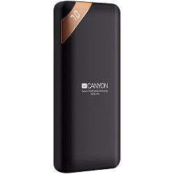 Power bank CANYON 10000mAh Li-poly battery, Input 5V/2A, Output 5V/2.1A(Max), with Smart IC and power display, Black, USB cable length 0.25m, 137*67*13mm, 0.230Kg