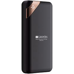 Power bank CANYON 20000mAh  Li-poly battery, Input 5V/2A, Output 5V/2.1A(Max), with Smart IC and power display, Black, USB cable length 0.25m, 137*67*25mm, 0.360Kg