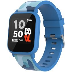 Teenager smart watch, 1.3 inches IPS full touch screen, blue plastic body, IP68 waterproof, BT5.0, multi-sport mode, built-in kids game, compatibility with iOS and android, 155mAh battery, Host: D42x