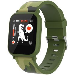 Teenager smart watch, 1.3 inches IPS full touch screen, green plastic body, IP68 waterproof, BT5.0, multi-sport mode, built-in kids game, compatibility with iOS and android, 155mAh battery, Host: D42x