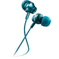 Stereo earphones with microphone, metallic shell, 1.2M, blue-green