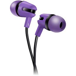 Stereo earphone with microphone, 1.2m flat cable, purple