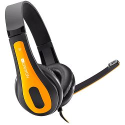 Canyon PC headset, combined 3,5 plug, leather pads, Black-yellow