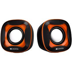 Zvučnici USB 2.0 Speaker, black +orange 021C, 2*3W 4 Ohm, ABS, 1.2m cable with USB2.0 & 3.5mm audio connector