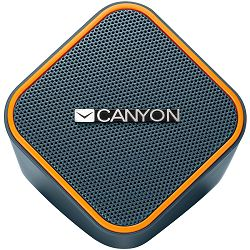 Canyon wired stereo Speaker, 1.2m cable with USB2.0 & 3.5mm audio connector, dark grey(orange stripe)