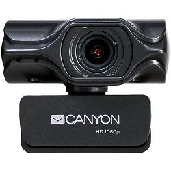 Kamera CANYON 2k Ultra full HD 3.2Mega webcam with USB2.0 connector, built-in MIC, Manual focus, IC SN5262, Sensor Aptina 0330, viewing angle 80°, with tripod, cable length 2.0m, Grey