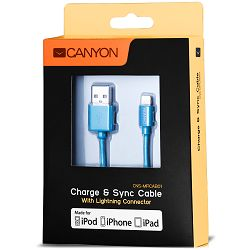 CANYON CNS-MFICAB01BL Ultra-compact MFI Cable, certified by Apple, 1M, 2.8mm , blue color