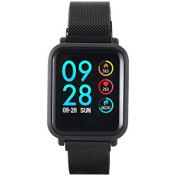 Smart watch, 1.22inch colorful LCD, 2 straps, metal strap and silicon strap, metal case, IP68 waterproof, multisport mode, camera remote, music control, 150mAh, compatibility with iOS and android, Bla