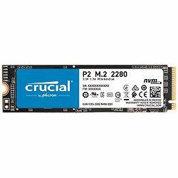 SSD CRUCIAL P2 250GB SSD, M.2 2280, PCIe Gen3 x4, Read/Write: 2100/1150 MB/s, Random Read/Write IOPS: 170K/260K