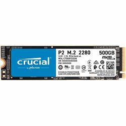 SSD CRUCIAL P2 500GB SSD, M.2 2280, PCIe Gen3 x4, Read/Write: 2300/940 MB/s, Random Read/Write IOPS: 95K/215K