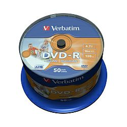 DVD-R Verbatim 4.7GB 16× Wide PRINTABLE (No ID) 50 pack spindle