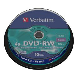 DVD-RW Verbatim 4.7GB 4× Matt Silver 10 pack spindle