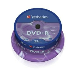 DVD+R Verbatim 4.7GB 16× Matt Silver 25 pack spindle