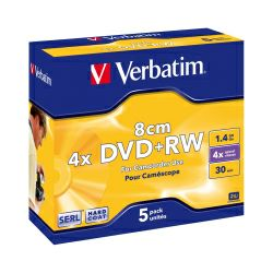 DVD+RW Verbatim 1.4GB,8cm 4× Matt Silver Hardcoated 5 pack JC