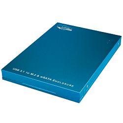 Eksterno kućište ICY BOX IB-186, M.2 SATA/mSATA SSD, USB 3.1-A, Aluminijsko kućište, plavo