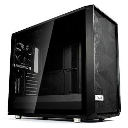 Kućište Fractal Meshfy S2 Black TG Dark, crno bez napaja.