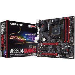 Matična ploča Gigabyte AB350M-Gaming 3 Socket AM4 (AMD RYZEN™ processor), 4*DDR4 3200, USB3.1/USB 2.0, DVI-D, VGA, HDMI, M.2, SATA III, RAID, GLAN, mATX
