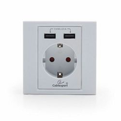 Gembird AC wall socket with 2 port USB charger, white