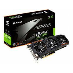 Grafička kartica GIGABYTE GeForce GTX 1060 AORUS EDITION GDDR5 9Gbps 6GB/192bit, 1607MHz/9026MHz, PCI-E 3.0 x16, HDMI, DVI-D, 3xDP, WINDFORCE 2X Cooler RGB (Double Slot), Backplate, Retail