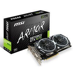 Grafička kartica MSI GTX 1070 GDDR5 8GB/256bit, 1556MHz/8008MHz, PCI-E 3.0 x16, 3xDP, HDMI, DVI-D, ARMOR 2X Cooler(Double Slot), Retail