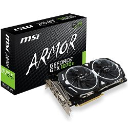 Grafička kartica MSI GeForce GTX 1070 Ti ARMOR GDDR5 8GB/256bit, 1683MHz/8008MHz, PCI-E 3.0 x16, 3xDP, HDMI, DVI-D, ARMOR FAN X2(Double Slot), Retail