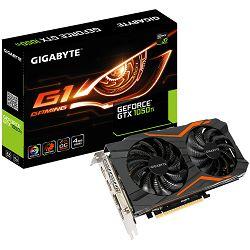 Grafička kartica GIGABYTE GeForce GTX 1050 Ti GAMING GDDR5 4GB/128bit, 1366MHz/7008MHz, PCI-E 3.0 x16, 3xHDMI, DVI-D, DP, WINDFORCE 2X Cooler RGB (Double Slot), Backplate, Retail